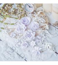 Цветы ручной работы из ткани Diamond, 10 шт, цвет сиреневый