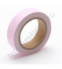 Тканевый скотч Розовый в горошек-47 15ммх4м SCB490048