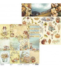 Бумага для скрапбукинга двусторонняя, 30.5х30.5 см, плотность 250 гр/м2, коллекция Lovely autumn, Лист Карточки