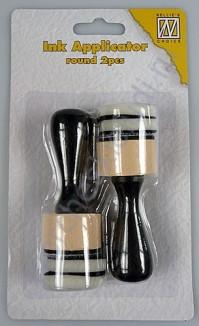 Аппликатор деревянный, круглый для нанесения чернил, в упаковке 2 аппликатора и 4 сменных фетровых насадки