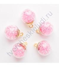 Стеклянный шар подвеска золото со стразами, 16 мм, цвет розовый