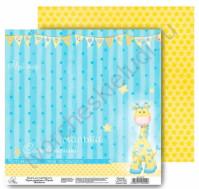 Бумага для скрапбукинга двусторонняя 29.5х29.5 см Наш малыш, лист Самый лучший малыш