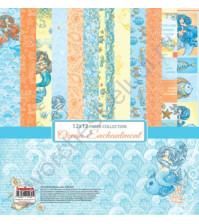 Набор бумаги для скрапбукинга 30.5х30.5 см 190 гр/м, Сказки Моря, 6 двусторонних листов + 2 листа карточек