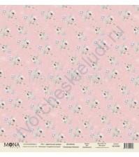 Бумага для скрапбукинга односторонняя Свадебная история, 30.5х30.5 см, 190 гр/м, лист Цветочные узоры
