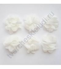 Шифоновые цветы, диаметр 6 см, 1 шт, цвет белый