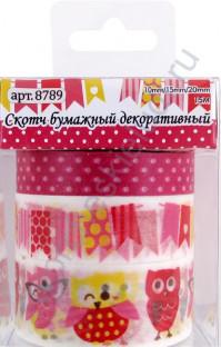Скотч бумажный декоративный Праздничные совы, цвет желтый/красный, 10мм/15мм/20мм