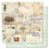 Бумага для скрапбукинга двусторонняя коллекция Winter traditions, 30.5х30.5 см, 190 гр/м, лист Winter letter