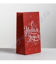 Пакет подарочный без ручек Новогодний подарок, 10х19.5х7 см