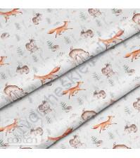 Ткань для рукоделия Лесные жители на белом, 100% хлопок, плотность 150 гр/м2, размер отреза 50х40 см