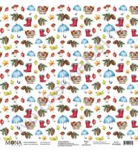 Бумага для скрапбукинга односторонняя Осень, 30.5х30.5 см, 190 гр/м, лист Улыбка осени