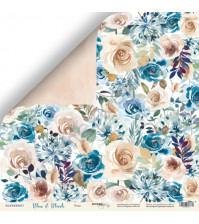 Бумага для скрапбукинга двусторонняя 30.5х30.5 см, 190 гр/м, коллекция Blue and Blush, лист Розы