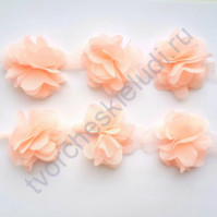 Шифоновые цветы, диаметр 6 см, 1 шт, цвет персиковый