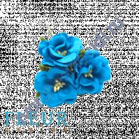 Цветочки Дикие розы бирюзовые, размер цветка 4.5 см, 3 шт