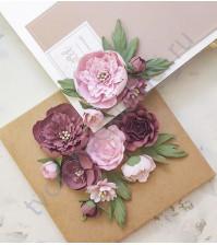 Цветы ручной работы из ткани Очарование, пионы и розы
