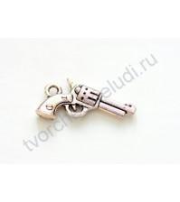 Подвеска металлическая Револьвер, 23х11 мм, цвет серебро