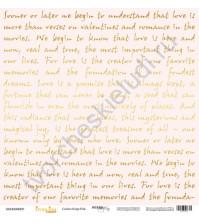 Бумага для скрапбукинга односторонняя с золотым тиснением 30.5х30.5 см, 190 гр/м, коллекция Every Day Gold, лист Golden Script Pink