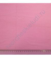 Ткань для рукоделия 100% хлопок, плотность 120г/м2, размер 50х110 см , коллекция Горох, цвет ярко-розовый