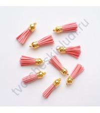 Декоративная кисточка из искусственной замши, длина кисточки 3.7 см, 1 шт, цвет розовый