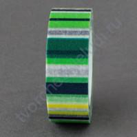 Бумажный скотч с принтом Полоска, 15ммх8м, цвет зелёный-жёлтый-чёрный