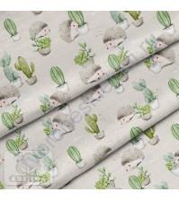 Ткань для рукоделия Ежики и кактусы, 100% хлопок, плотность 150 гр/м2, размер отреза 50х80 см