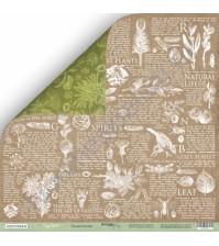 Бумага для скрапбукинга двусторонняя 30.5х30.5 см, 200 гр/м, коллекция Cozy Forest, лист Энциклопедия