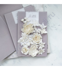Цветы ручной работы из ткани Базовый микс, молочный