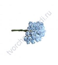 Бутоны роз полураскрытые 10 мм, 5 шт, цвет нежный голубой