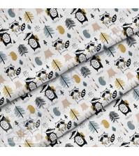Ткань для рукоделия Барсук и енот, 100% хлопок, плотность 150 гр/м2, размер отреза 50х80 см