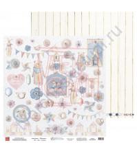 Бумага для скрапбукинга, 30.5х30.5 см, плотность 190 гр/м2, коллекция Потешки, лист Для ножниц