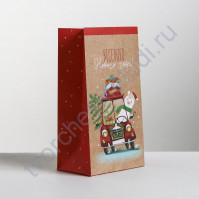 Пакет подарочный без ручек Веселого Нового Года, 10х19.5х7 см