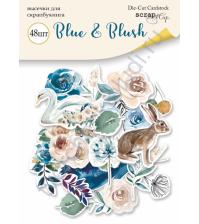 Набор высечек (вырубок) Blue and Blush, плотность 250 гр/м, 48 элементов
