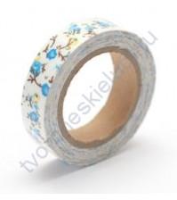 Тканевый скотч с цветочным принтом-21 15ммх4м SCB490045