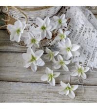 Цветы ручной работы из ткани Гортензии дуболистные, 12 шт, цвет белый