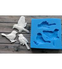 Форма силиконовая (молд) для полимерной глины, Набор из трех птиц