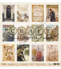 Бумага для скрапбукинга односторонняя коллекция Шерлок, 30.5х30.5 см, 190 гр/м, лист Карточки