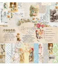 Набор бумаги Детство, 30.5х30.5 см, 190 гр/м, 12 двусторонних листов + 4 листа с карточками и элементами для вырезания