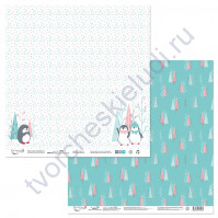 Бумага для скрапбукинга двусторонняя коллекция Будешь моим пингвинчиком?, 30.5х30.5 см, 190 гр/м, лист 6