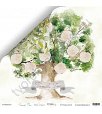 Бумага для скрапбукинга двусторонняя, коллекция Family Tree, 30.5х30.5 см, 190 гр\м2, лист Родовое дерево