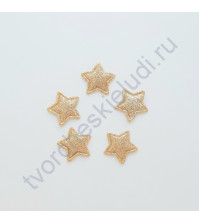 Тканевая апликация с глиттером Звезда, размер 2.6х2.6 см, 1 шт, цвет розовое золото