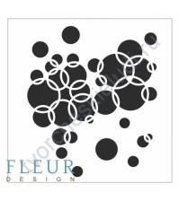 Трафарет пластиковый многоразовый Колечки, 15.5х15.5 см, толщина 0.5 мм