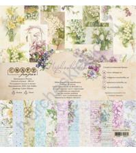 Набор бумаги Первоцветы, 30.5х30.5 см, 190 гр/м, 12 двусторонних листов + 4 листа с карточками и элементами для вырезания