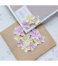 Цветы ручной работы из ткани Гортензии дуболистные, желто-розовый