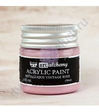 Краска акриловая Art Alchemy Metallique на водной основе, 50 мл, цвет винтажная роза (Vintage Rose)