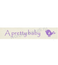 Тесьма декоративная хлопковая A pretty baby, ширина 16 мм, цвет сиреневый, 1 метр