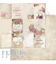 Бумага для скрапбукинга двусторонняя, коллекция Be mine, 30х30 см плотность 190г/м, лист Карточки