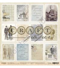Бумага для скрапбукинга односторонняя коллекция Джентельмен, 30.5х30.5 см, 190 гр/м, лист Карточки
