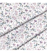 Ткань для рукоделия Листья фиолетовые, 100% хлопок, плотность 150 гр/м2, размер отреза 50х40 см