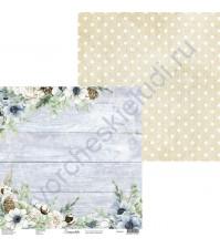 Бумага для скрапбукинга двусторонняя, 30.5х30.5 см, плотность 250 гр/м2, коллекция Snowy Flowers, Лист 1