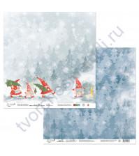 Бумага для скрапбукинга двусторонняя коллекция Новогодние хлопоты, 30.5х30.5 см, 190 гр/м, лист 3