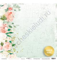 Бумага для скрапбукинга с золотым тиснением, коллекция Peaches and Cream, 30.5х30.5 см, 190 гр\м2, лист Цветение